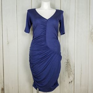 DKNY Royal Blue Shirred Body Contour Dress